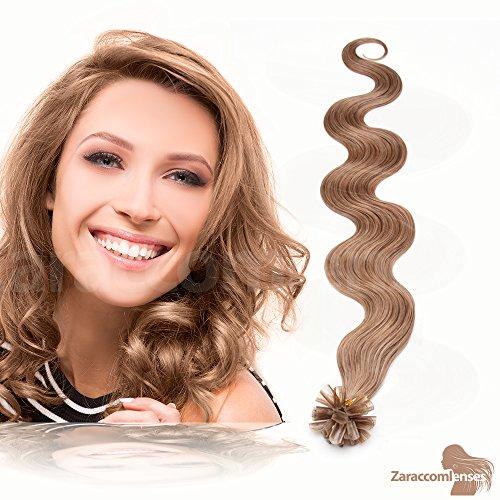 Kératine Hair Extensions de U Tip en 09 1G de miel Blond cendré – 100% Cheveux Naturels Remy Mèches de 60 cm Poids des cheveux