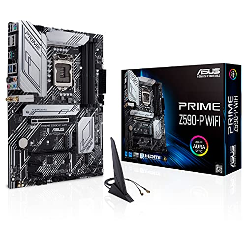 ASUS PRIME Z590-P WI-FI, Scheda madre Intel Z590 ATX con PCIe 4.0, 3x slot M.2, 11 fasi DrMOS, HDMI, DP, Intel WI-FI 6, Lan 2.5 Gb, USB 3.2 Gen 2x2 Type-C, supporto Thunderbolt 4, Aura Sync RGB