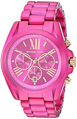 Michael Kors women's exclusive bradshaw chronograph pink stainless steel watch Round stainless steel case with a pink dial and rose gold roman numerals and stick markers 43mm case, 20mm band width, mineral crystal, Quartz movement with analog display...