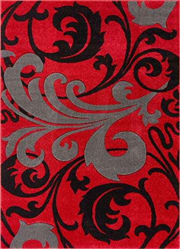 """Melanie Floral Red & Grey Modern Geometric Comfy Casual Fleur-de-Lis Hand Carved Area Rug 8x10 8x11 ( 7'10"""" x 9'10"""" ) Easy to Clean Stain Resistant Contemporary Thick Soft Plush Living Dining Room"""
