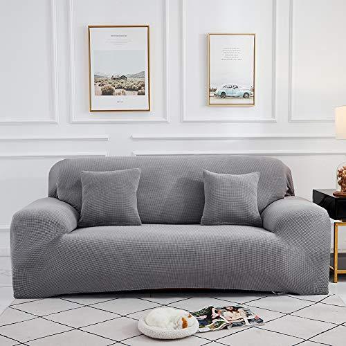 Sinoeem Sofaübezug 1 2 3 4 Sitzer Spandex Sofabezug Elastische Stretch Spandex Sofahusse Couchbezug Sesselbezug Antirutsch Stretchhusse Weich Stoff Sofaüberwurf (Hellgrau, 1 Sitzer 90-140cm)