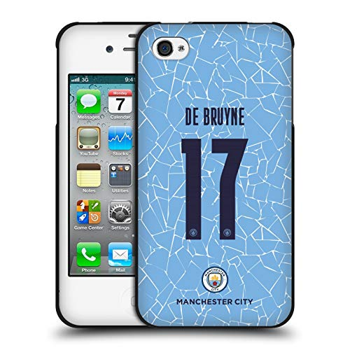 Head Case Designs Oficial Manchester City Man City FC Kevin De Bruyne 2020/21 Jugadores Inicio Kit Grupo 1 Funda de Gel Negro Compatible con Apple iPhone 4 / iPhone 4S