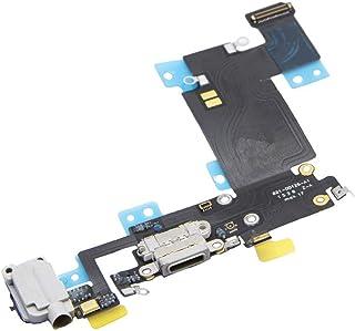BOLLAER - Conector de carga USB para iPhone 6S Plus de 5,5 pulgadas (negro/gris espacial), cable flexible + micrófono + auricular, conector de audio de repuesto, herramienta de reparación de inquilinos, Blanco