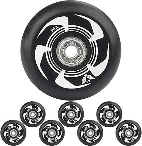 YSHUAI Inlineskate-Rollen mit ABEC-9-Kugellagern, 72 mm, 76 mm, 80 mm, 90 A, Hockeyschlittschuhe, Ersatzrad, 8 Stück, weiß, 80 mm