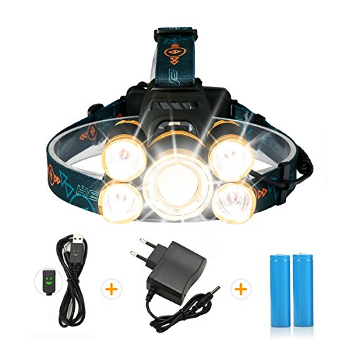 SGODDE Lampe Frontale Puissante avec 7 LED, 5 Modes Lampe Torche LED Zoomable et Étanche avec 2 x 18650 8800mAh Batterie Rechargeable de Protection Contre Surcharge. (5 LED)