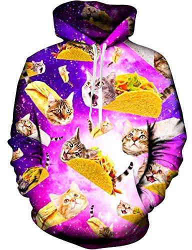 Loveternal Pizza Hoodie Männer Bunte 3D Katze Pullover Unisex Langarm Gemustert Sweatshirts für Jugendliche Jumper L