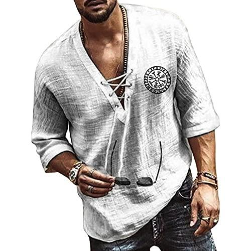 T-Shirt Manica Corta Uomo Nuovi Uomini Casual Camicetta Camicia di Lino in Cotone Magliette Larghe Maglietta A Maniche Corte Primavera Autunno Estate Casual Camicia da Uomo Bella-Grey_XL