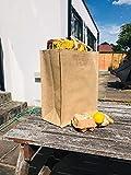 10 bolsas de yute de arpillera con asas de algodón de color natural y interior laminado que lo hace 100% impermeable. Tamaño: 45 cm x 39 cm x 21 cm (10 unidades)