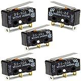 Micro Interruptor, 5 piezas 5A 250V Interruptor de Límite, 3 Pines Palanca de Bisagra Larga y Recta,Botón Pulsador de Brazo Actuador Momentáneo (Negro)