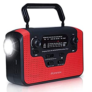 Real NOAA Alert Weather Radio with Alarm, iRonsnow IS-388 Solar Hand Crank Emergency AM/FM/SW/WB Radio, TF Card Speaker, LED Flashlight & Reading Camping Lamp, 2300mAh Cell Phone Charger by iRonsnow