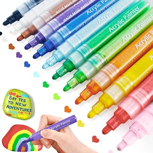 Acrylic Paint Pens, Rush Deer 12 Colors Paint Marker Pens for Rock Painting, Ceramic, Glass, Canvas, Wood, Metal, Fabric, Mug, Easter Eggs,DIY Art Craft Making Supplies Paint Pens Set