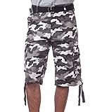 Pro Club Men's Cotton Twill Cargo Shorts with Belt, 34', White (City Camo)