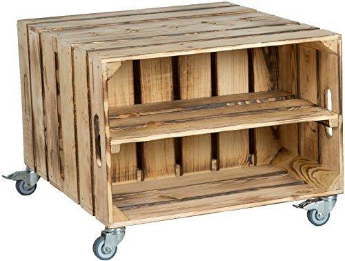 2er Obstkistentisch 'Elfriede' mit Rollen Maße 60 x 54 x 42cm Couchtisch Abstelltisch Couch Tisch...