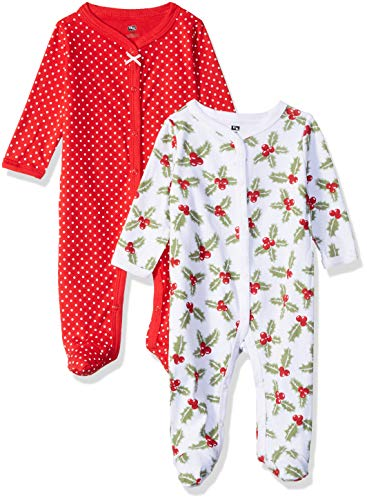 Hudson Baby Unisex Baby Cotton Sleep and Play Coverall, Holly, 0-3 Months 3M US