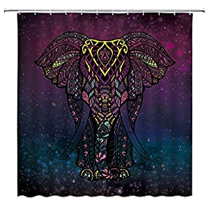 XZMAN Mandala Elephant Shower Curtain Bohemian Indian Elephant Blue Purple Sky Stars Galaxy Colorful African Animal Polyester Waterproof Bathroom Decor Set 70 x 70 Inches with Hooks