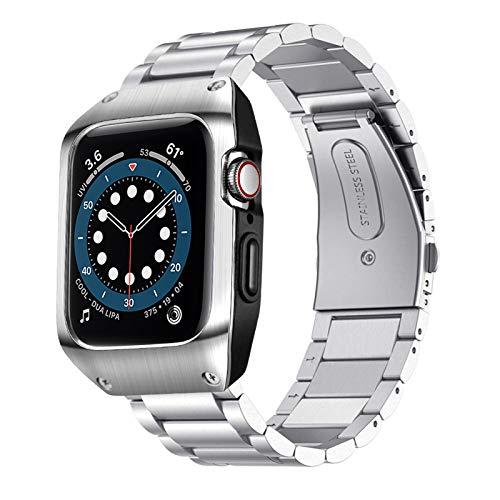 SPGUARD Armband Kompatibel mit Apple Watch Armband 44mm Series 6 Apple Watch SE Armband,Edelstahl Metall Armbänder mit Schutzhülle für Apple Watch 44mm Series 6/SE/5/4(Silber)