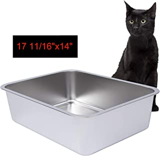 Dimaka Stainless Steel Litter Box for Cat and Kitten,  6 inch Side Height,  Non Stick Smooth Surface Metal Pan,  Easy to Clean,  Non Odor and Rust Proof,  Safe and Hard