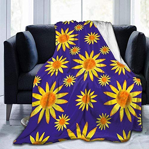 XZDPPTBLN Flannel Blanket Purple Yellow Sunflower Fleece Print Blankets Bed Blanket Soft Throw Blanket Lightweight Cozy Blanket for All Season 71x78.7inch/ 180cm x 200cm