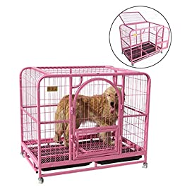Dog Cage Large Pet Cage Cat Cage Pink Dog Cage General Pet Cage Balcony Animal Cage Indoor & Outdoor Metal Pet Cage Crates & Kennels