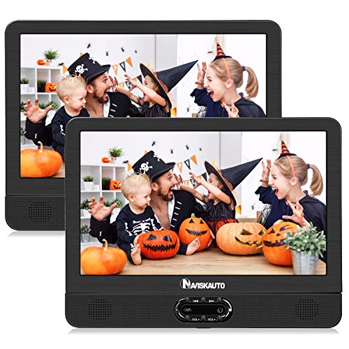 NAVISKAUTO 12' Portable Dual Screen DVD Player for Car with Built-in Rechargeable Battery and Last Memory, Supports USB/SD Card Playback