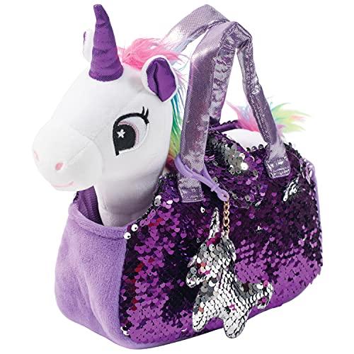 Little Jupiter Plush Pet Set with Purse - Unicorn Toys - Unicorn Stuffed Animal - Pink Elephant Stuffed Animals - Unicorn Gift for Girls - Kids (White Unicorn)
