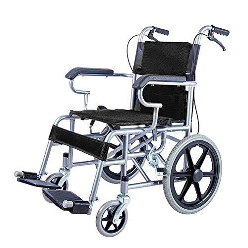AINIDEMA Ultraleichter Faltbarer Rollstuhl Mit Hohen Griffen Sitzbreite: 49 cm,Geeignet Für Ältere Und Behinderte Menschen,Schwarz