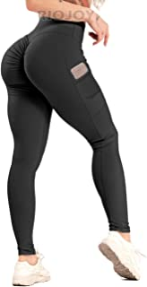 RIOJOY Scrunch Butt Lifting Yoga Pants with Pockets Women High Waisted Gym Leggings