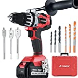 AOBEN 21V Cordless Hammer Drill Kit, 1200 In-lbs Torque, 1/2-Inch Power Hammer Drill Brushless, with 4.0Ah Li-ion Battery and Charger, Auxiliary Handle, Variable Speed