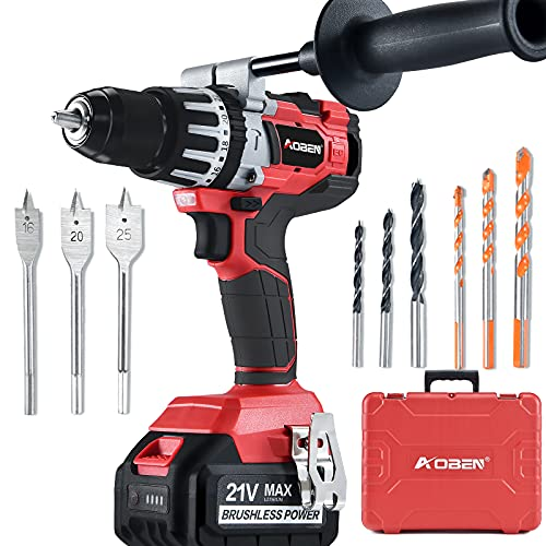 AOBEN 21V Cordless Hammer Drill Kit, 1/2-Inch Brushless Power Hammer Drill Set, Max 1200 In-lbs Torque, with 4.0Ah Li-ion Battery and Charger, Auxiliary Handle, Variable Speed