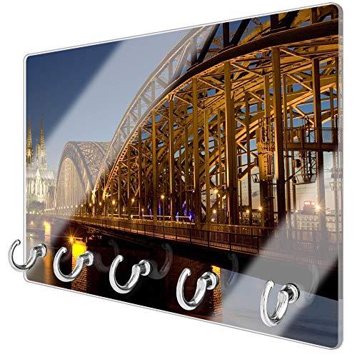 banjado Schlüsselbrett aus Glas | Schlüsselboard 30cm x 20cm | beschreibbar und magnetisch | Schlüsselleiste mit 5 Haken | Motiv Köln