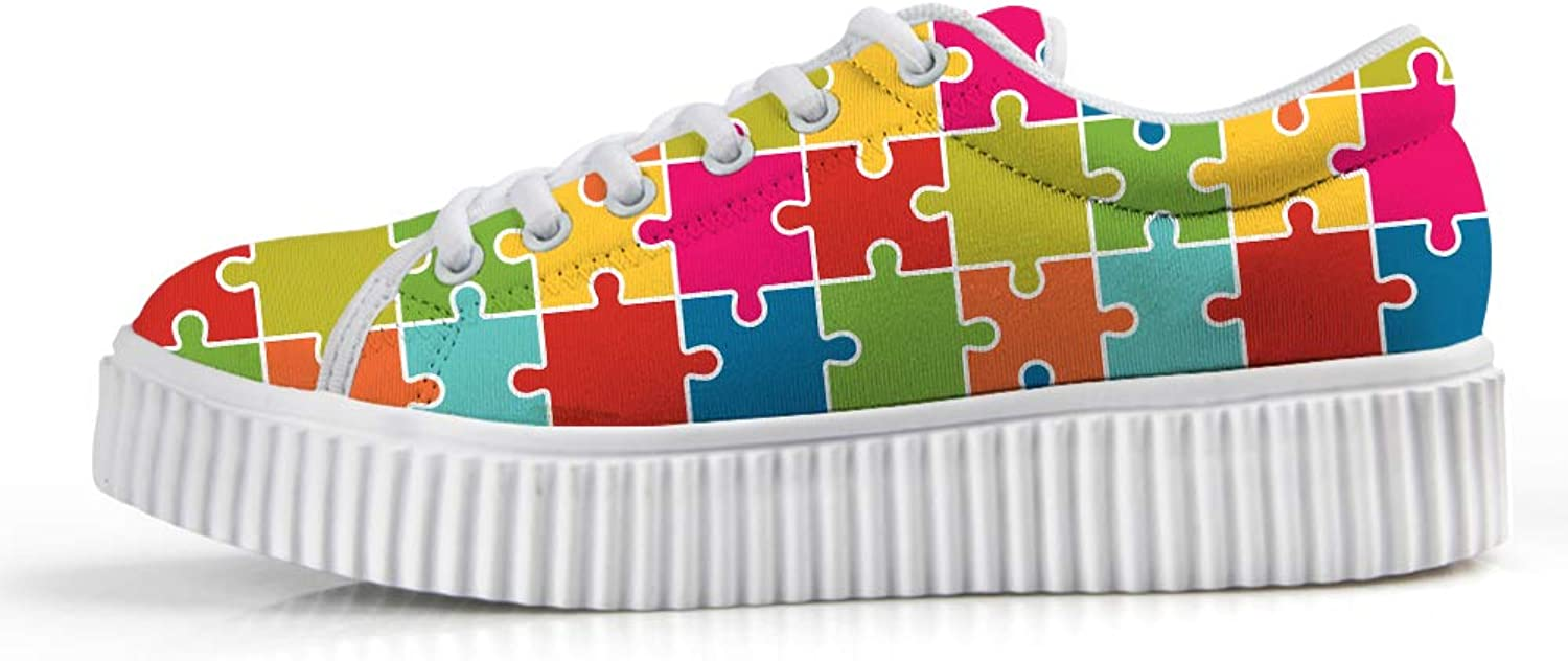 Platform Lace up Sneaker Casual Chunky Walking shoes Low Top Women Autism Awareness Happy Square Puzzle