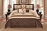 Jenin 7 Pieces Complete Bedding Ensemble Beige Brown Gold Luxury Embroidery Comforter Set Bed-in-a-Bag Bedding- Yasmen King