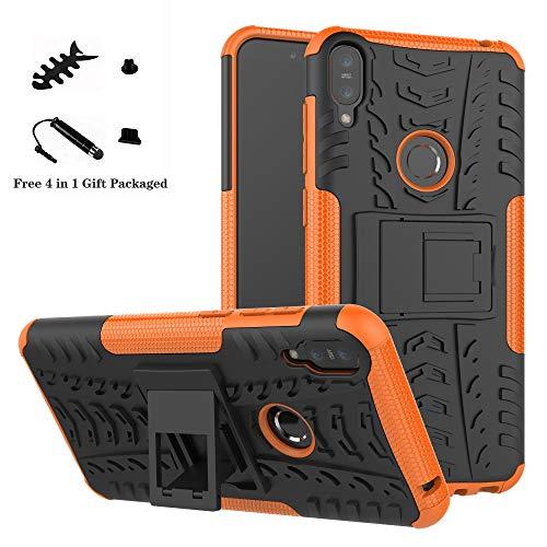LiuShan Protettiva Shockproof Rigida Dual Layer Resistente agli Urti con cavalletto Caso per ASUS Zenfone Max PRO M1 ZB601KL / ZB602K Smartphone,Arancione