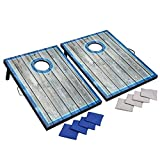 Hathaway LED Cornhole Set with Rustic Target Boards & 8 Bean Toss Bags, Lighted Target Areas, Carry Handles for Portability – Blue/White