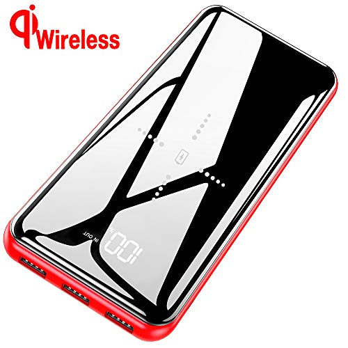 Gnceei Powerbank Wireless Charger 25000mAh 2019 Neu Glasoberflächen Externer Akku, 2 in 1 Kabellose Qi Power Bank mit USB C&Micro Dual Eingänge und 3 Ausgänge hohe Kapazität für das Smartphone-Rot