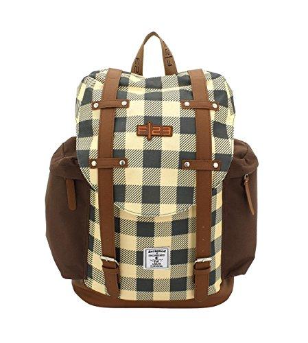 F|23, Urban Survival Rucksack, BxTxH: 31x17x42 cm, Inkl. 2 Seitentaschen, 22 Liter, Check, Ocker/Braun, 30022-6