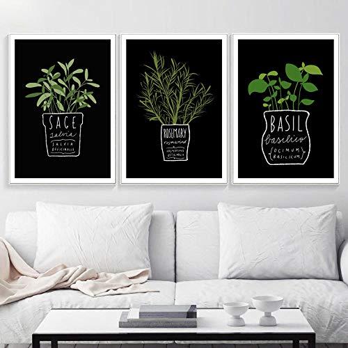 IGZAKER Keuken Kantoor Groene Potplant Letters Muur Canvas Schilderij Nordic Posters En Prints Muur Foto 'S Voor Woonkamer Decor-60x80cmx3pcs geen frame