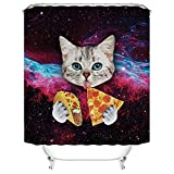 qhtqtt Duschvorhänge Cat Eat Pizza Wasserdichtes Polyestergewebe Duschvorhang Space Nebula Universe 180X180Cm A
