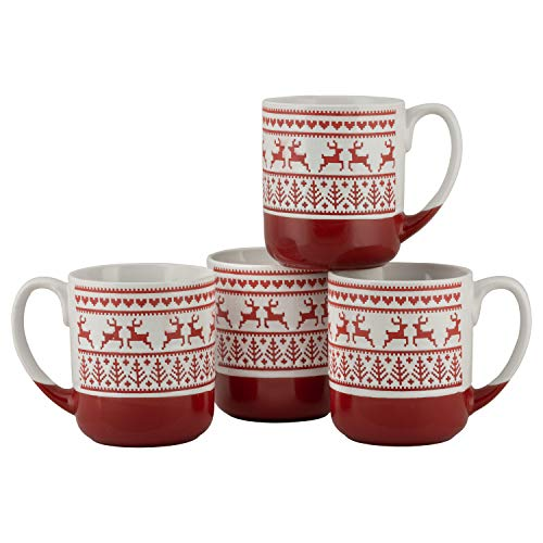 10 Strawberry Street Embossed Reindeer Mug, Set of 4 (Red), S4MUG-XMAS