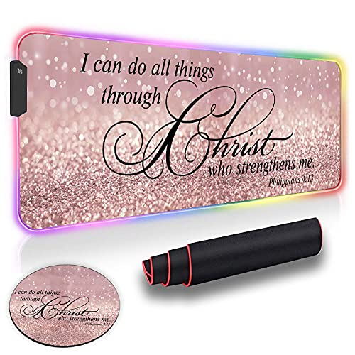 Gaming Mouse Pad and Cute Coaster, Philippians 4-13 Christian Quotes Bible Scripture Rose Gold Rainbow Glitter Oversized Glowing Extended LED Mousepad, Anti-Slip Rubber Base Computer Mouse Mat