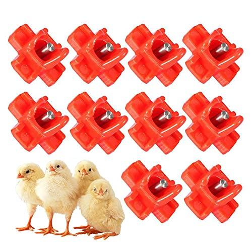 xiaohuangren 10 Stück Hühnertränke Geflügeltränke Aufhängbarer Wasserspender Wassertränke Tränke Hühnerzubehör Horizontale, Seitlich Angebrachte Geflügel-Wassernippel3,2x3,2 cm