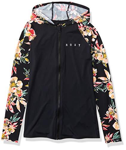 Roxy Damen Surf Zip Lycra Hoodie Rash Guard Hemd, Anthrazit Wonder Garden S, Medium