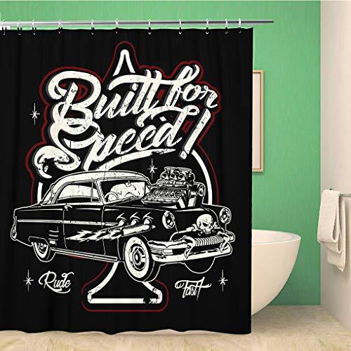 Awowee Decor Duschvorhang Rockabilly Cartoon Retro Hot Rod American Antique Car Classic 180 x 180 cm Polyester Stoff Wasserdicht Badvorhänge Set mit Haken für Badezimmer