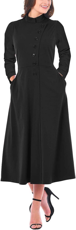 LUCKLOVELL Women Sexy Side Button Mandarin Collar A-line Midi Dress