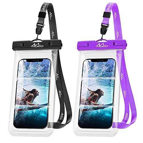 MoKo Funda Impermeable Universal, [2PZS]IPX8 Bolsa Estanca Submarina Móvil con Cordón para iPhone 12/12 Pro Max/11/11 Pro Max/Xs Max/XR/8/7 Plus,Galaxy S21/S20 Plus/Note 10/9 hasta 6.8', Negro+Púrpura