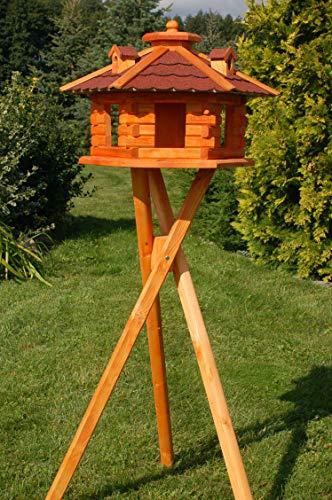 Vogelhaus Futterhaus Vogelvilla mit Solarbeleuchtung und Silo klein und Groß V16 (Rot, groß mit Ständer), Vogelfutterhaus