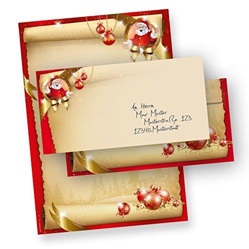Briefpapier Frohe Weihnachten Set Santa Claus (25 Sets ohne Fenster) DIN A4 297 x 210mm 90 g/qm, Weihnachtsbriefpapier mit Umschläge