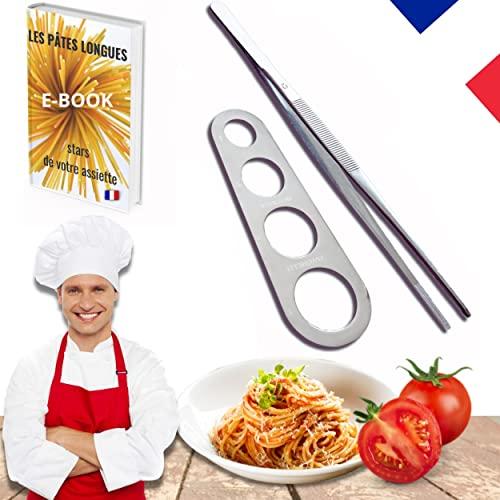 TP TRO PRATIC Pince Cuisine INOX Pro 30 cm + DOSEUR Spaghetti/ustensile Barbecue Pratique et Simple, Outil pour Dresser comme Un Professionnel. Bonus 30 Recettes de pâtes