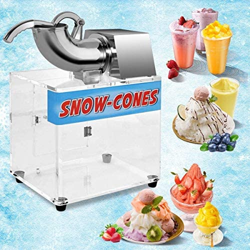 ReunionG Ice Crusher Commercial Ice Shaver with Acrylic Box Stainless Steel Electric Snow Cone product image