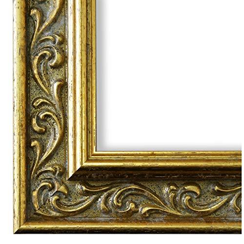 Cornice portafoto Verona 558P-ORO Oro 4,4, Cornice intercambiabile con vetro da museo (specchiato, resistenza 45% ai raggi UV), gold, 105 x 140 cm